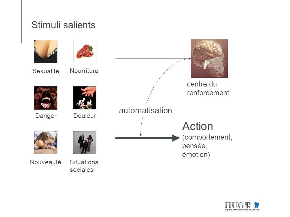 Stimuli salients Sexualité Nourriture DangerDouleur NouveautéSituations sociales Action (comportement, pensée, émotion) centre du renforcement automatisation
