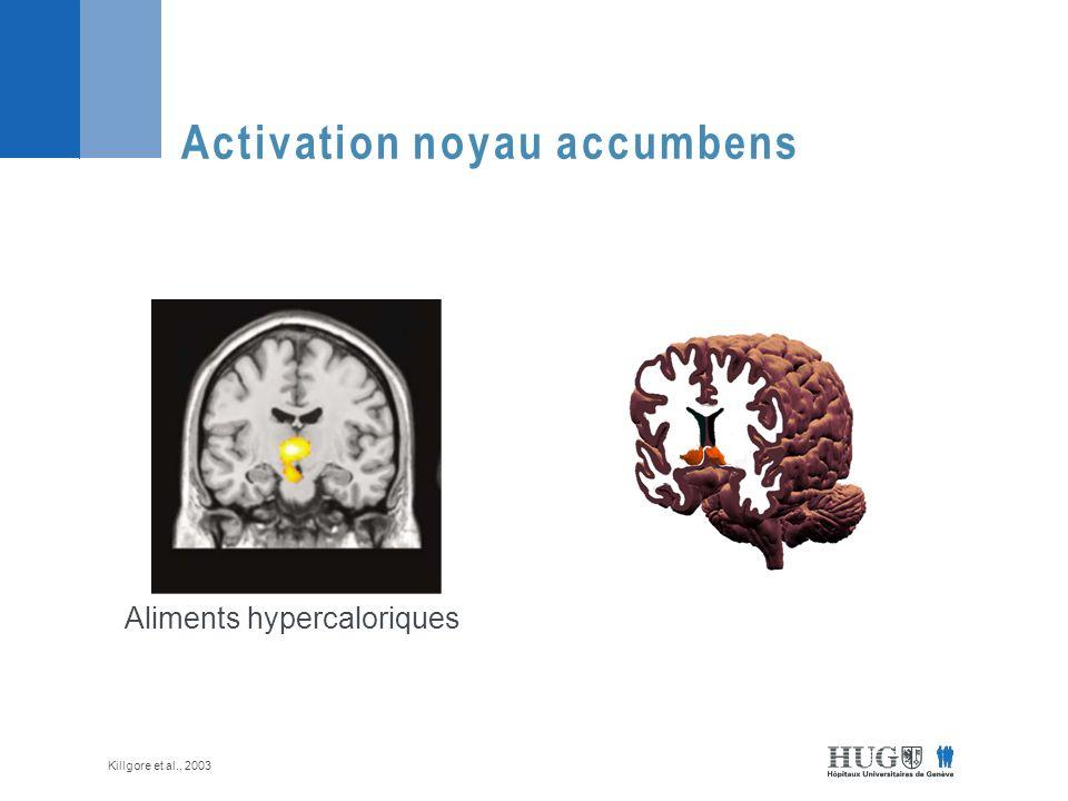 Activation noyau accumbens Aliments hypercaloriques Killgore et al., 2003