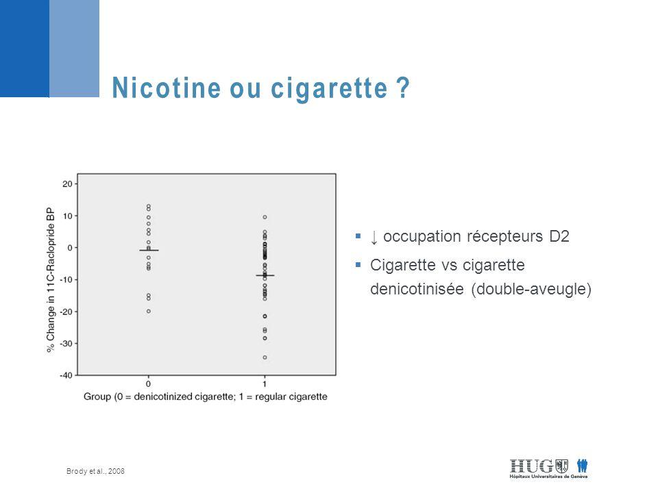 occupation récepteurs D2 Cigarette vs cigarette denicotinisée (double-aveugle) Nicotine ou cigarette .