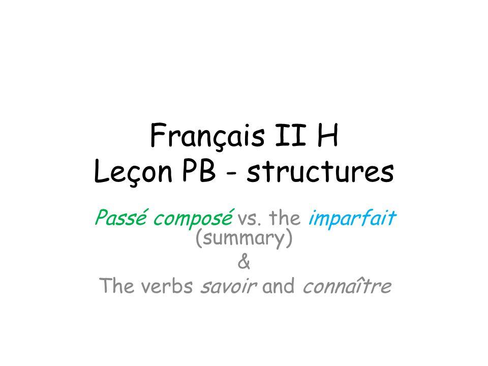 Français II H Leçon PB - structures Passé composé vs.