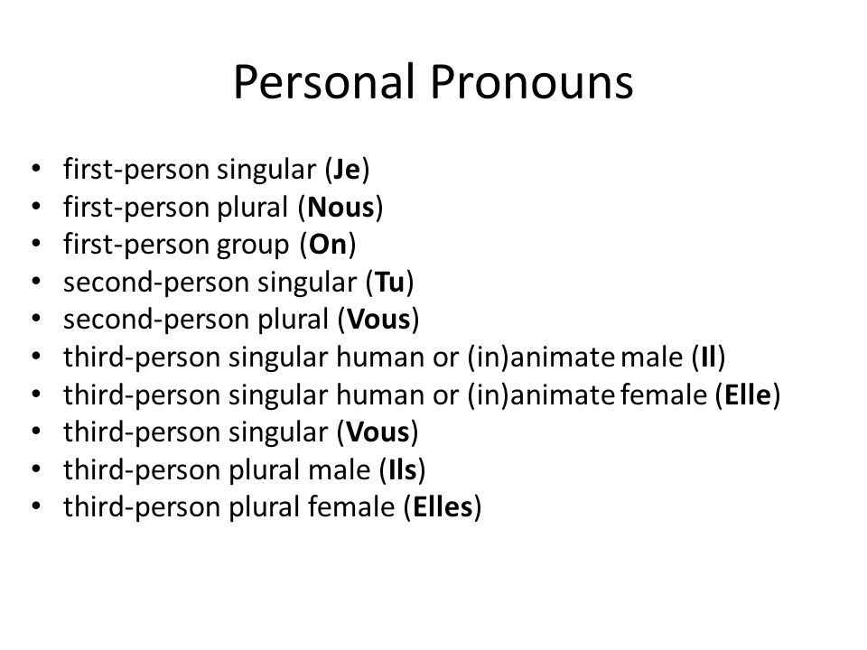 Personal Pronouns first-person singular (Je) first-person plural (Nous) first-person group (On) second-person singular (Tu) second-person plural (Vous