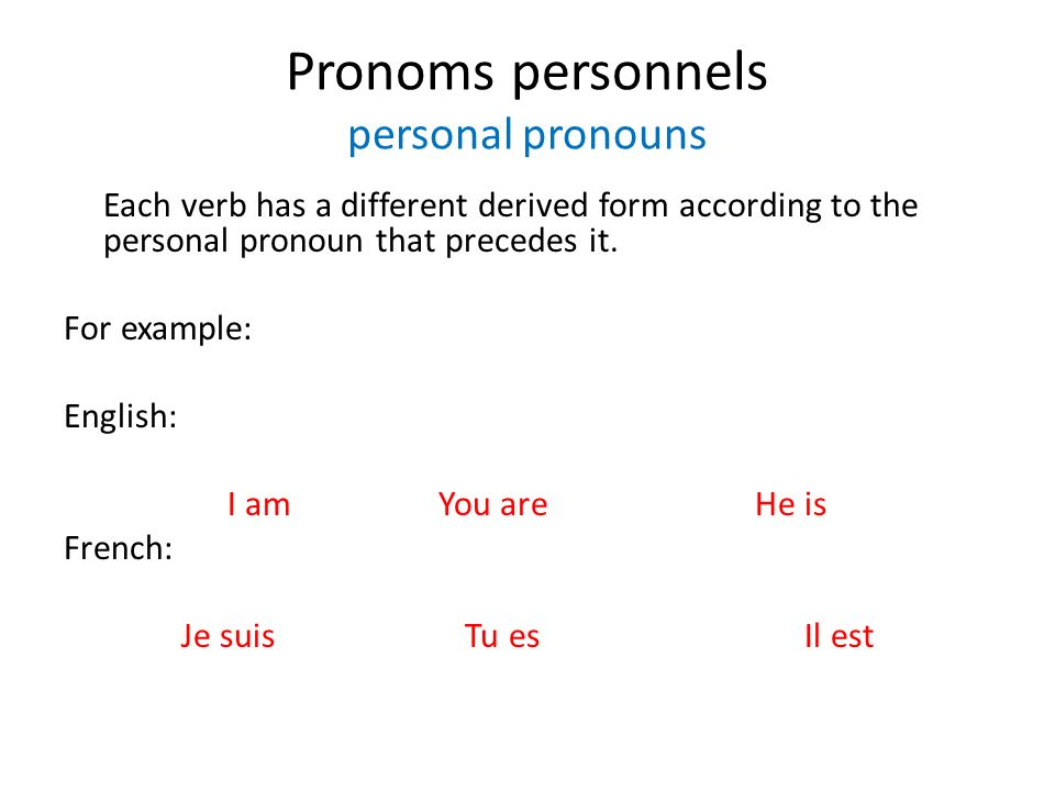 Pronoms personnels personal pronouns Each verb has a different derived form according to the personal pronoun that precedes it. For example: English: