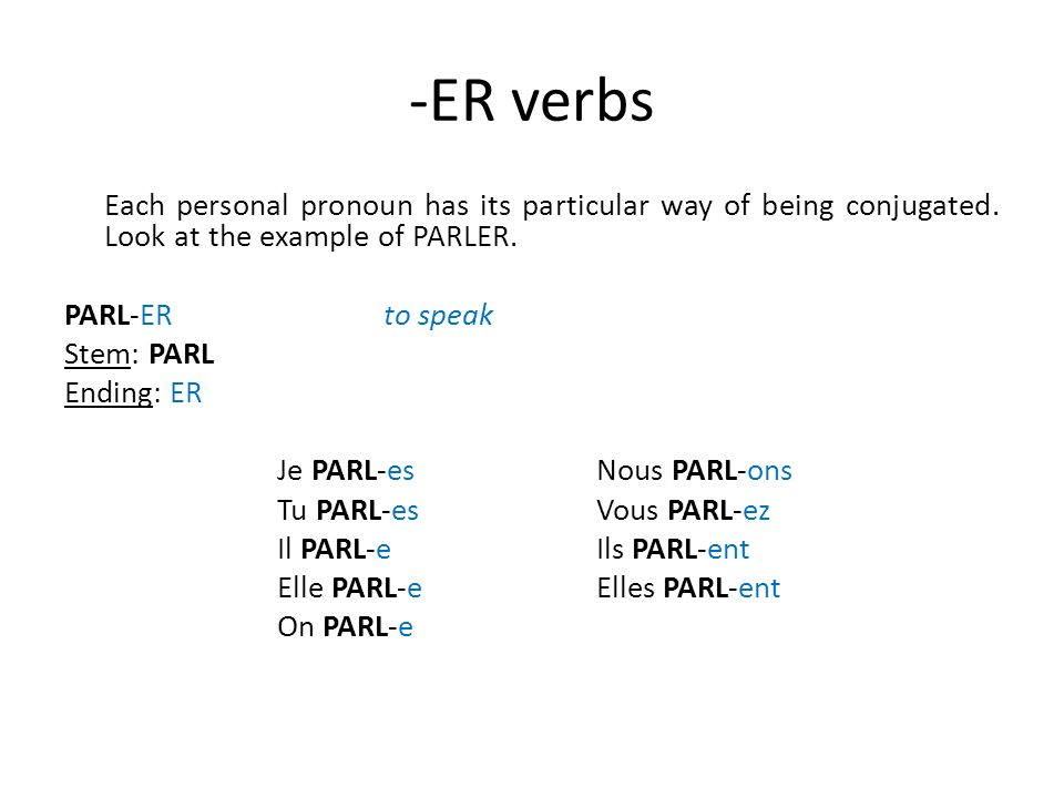 -ER verbs Each personal pronoun has its particular way of being conjugated. Look at the example of PARLER. PARL-ERto speak Stem: PARL Ending: ER Je PA