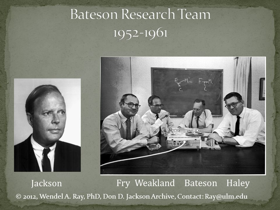 Jackson Fry Weakland Bateson Haley © 2012, Wendel A. Ray, PhD, Don D. Jackson Archive, Contact: Ray@ulm.edu