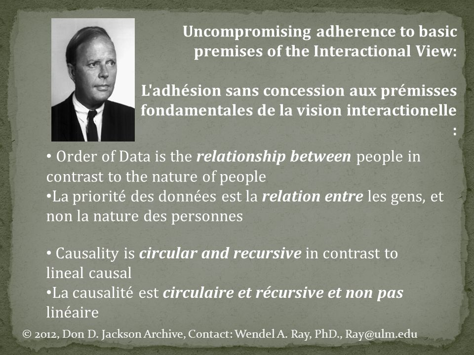 Evoking Change using Jacksons Interactional Diagnostics Evoquer le changement à l aide du diagnostic interactionnel de Jackson [A couple or family] can be viewed as a mutual causative system, whose complementary communication reinforces the nature of their interaction.