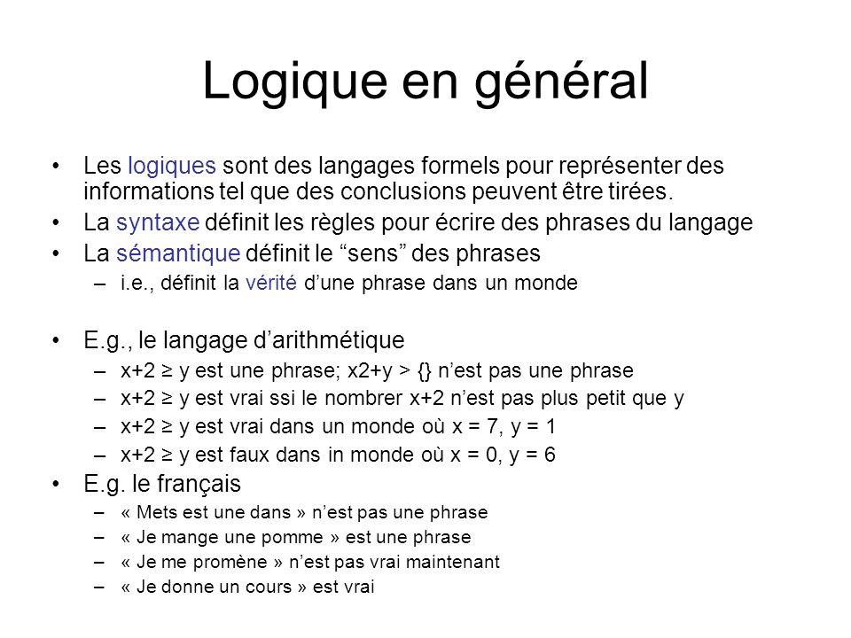 Logique en général Les logiques sont des langages formels pour représenter des informations tel que des conclusions peuvent être tirées. La syntaxe dé