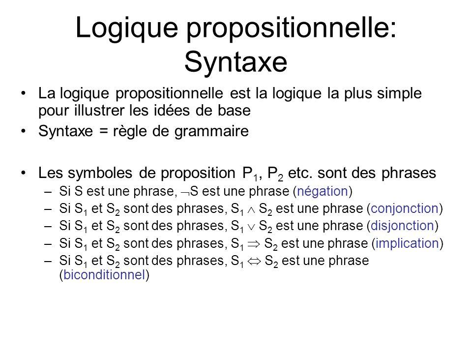 Logique propositionnelle: Syntaxe La logique propositionnelle est la logique la plus simple pour illustrer les idées de base Syntaxe = règle de grammaire Les symboles de proposition P 1, P 2 etc.