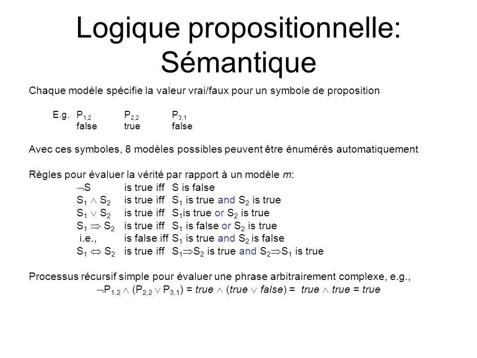 Logique propositionnelle: Sémantique Chaque modèle spécifie la valeur vrai/faux pour un symbole de proposition E.g. P 1,2 P 2,2 P 3,1 falsetruefalse A