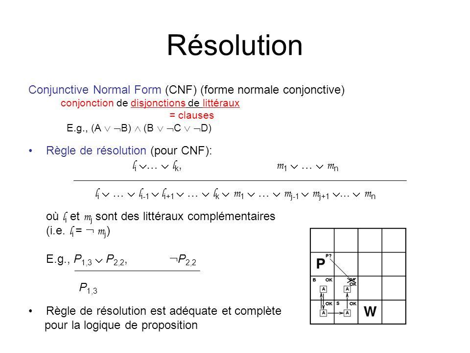 Résolution Conjunctive Normal Form (CNF) (forme normale conjonctive) conjonction de disjonctions de littéraux = clauses E.g., (A B) (B C D) Règle de résolution (pour CNF): l i … l k, m 1 … m n l i … l i-1 l i+1 … l k m 1 … m j-1 m j+1...