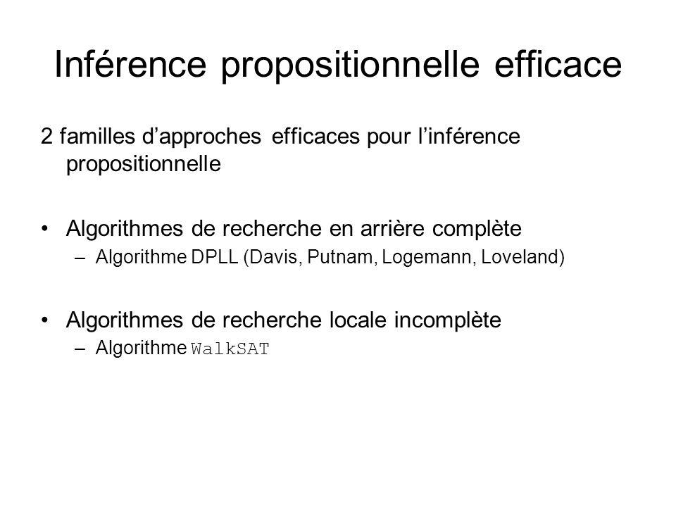 Inférence propositionnelle efficace 2 familles dapproches efficaces pour linférence propositionnelle Algorithmes de recherche en arrière complète –Alg