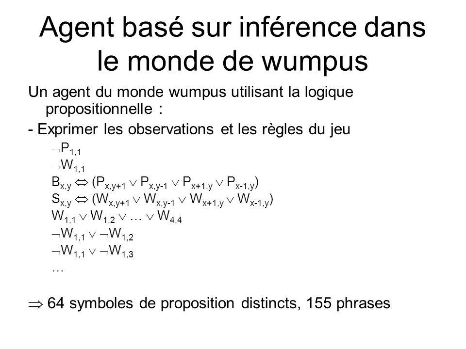 Agent basé sur inférence dans le monde de wumpus Un agent du monde wumpus utilisant la logique propositionnelle : - Exprimer les observations et les r