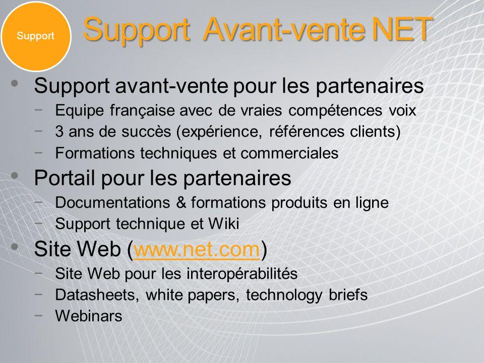 Support Avant-vente NET Support Support avant-vente pour les partenaires Equipe française avec de vraies compétences voix 3 ans de succès (expérience,