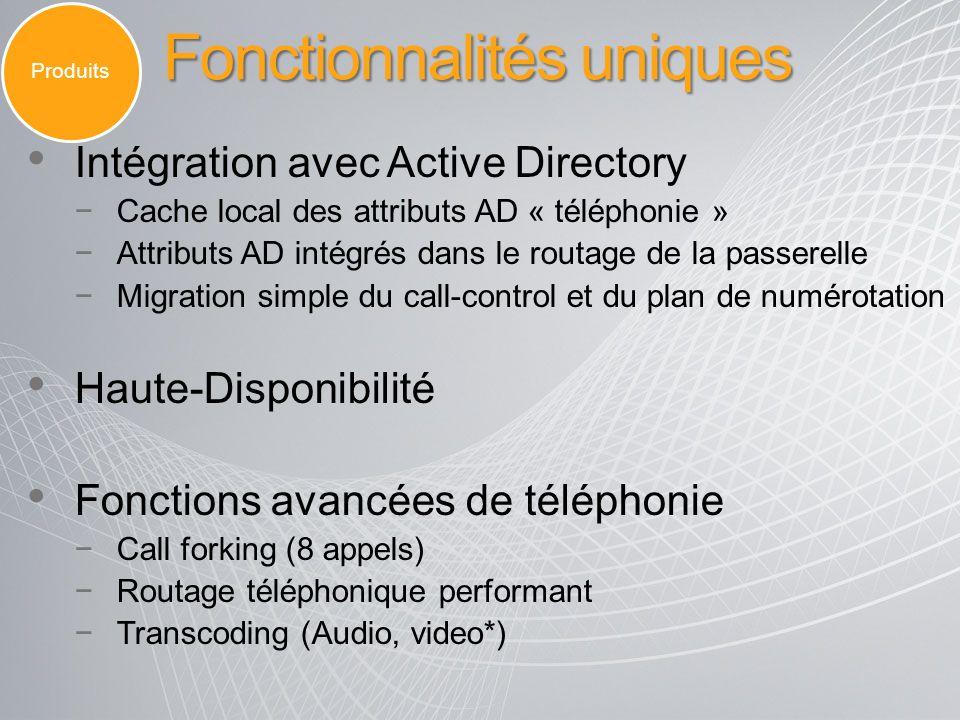 Fonctionnalités uniques Intégration avec Active Directory Cache local des attributs AD « téléphonie » Attributs AD intégrés dans le routage de la pass
