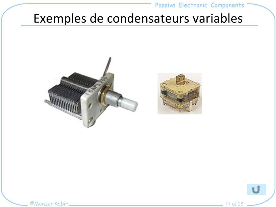 Passive Electronic Components ©Monzur Kabir of 15 11 Exemples de condensateurs variables