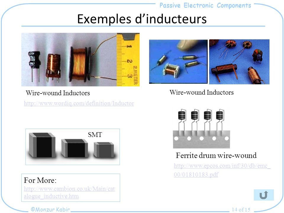 Passive Electronic Components ©Monzur Kabir of 15 14 Exemples dinducteurs http://www.wordiq.com/definition/Inductor Wire-wound Inductors Ferrite drum