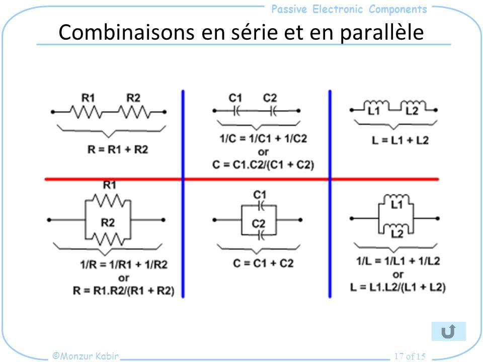Passive Electronic Components ©Monzur Kabir of 15 17 Combinaisons en série et en parallèle