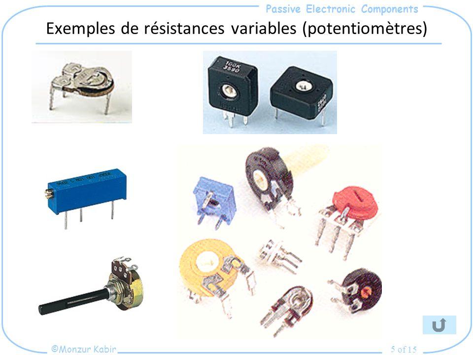 Passive Electronic Components ©Monzur Kabir of 15 5 Exemples de résistances variables (potentiomètres)
