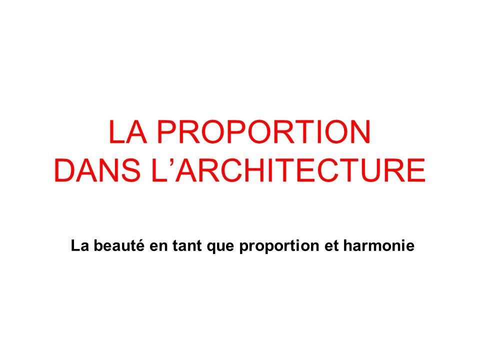 LA PROPORTION DANS LARCHITECTURE La beauté en tant que proportion et harmonie