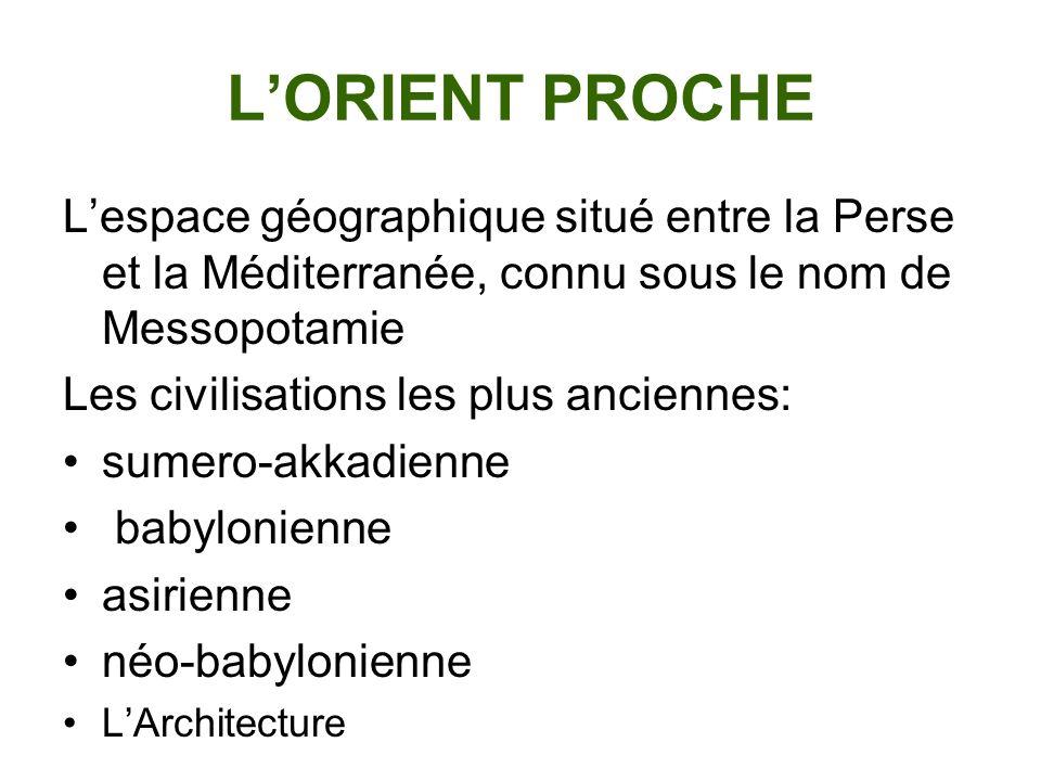 LORIENT PROCHE Lespace géographique situé entre la Perse et la Méditerranée, connu sous le nom de Messopotamie Les civilisations les plus anciennes: s