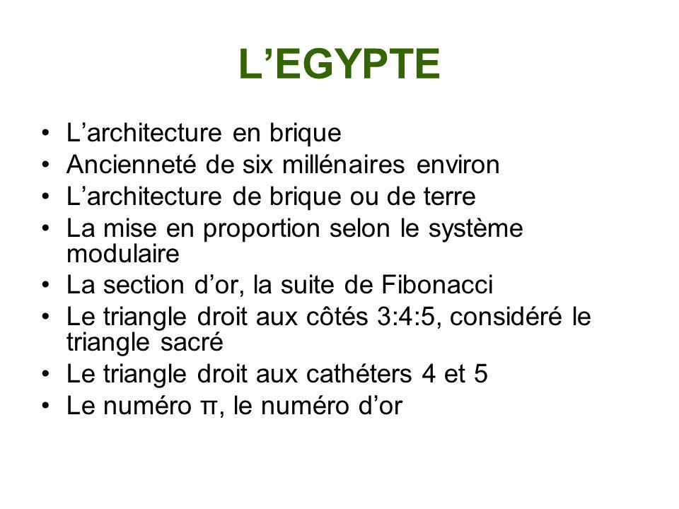 LEGYPTE Larchitecture en brique Ancienneté de six millénaires environ Larchitecture de brique ou de terre La mise en proportion selon le système modul