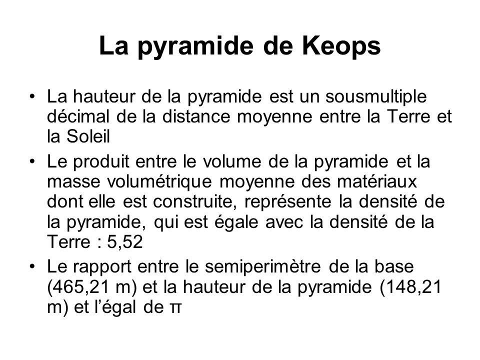 La hauteur de la pyramide est un sousmultiple décimal de la distance moyenne entre la Terre et la Soleil Le produit entre le volume de la pyramide et
