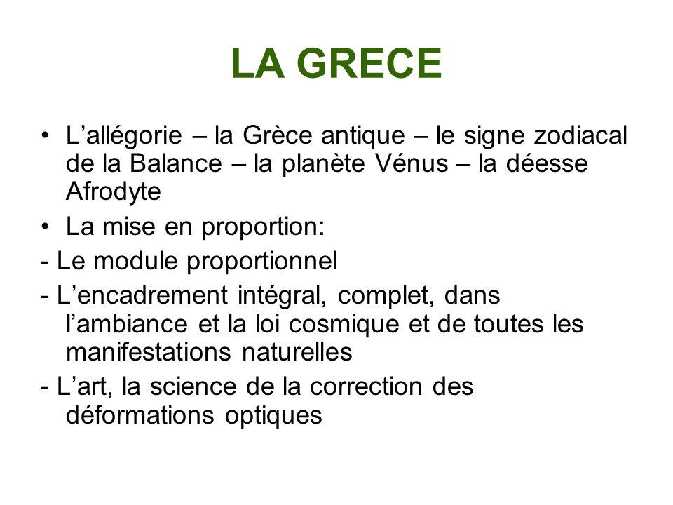 LA GRECE Lallégorie – la Grèce antique – le signe zodiacal de la Balance – la planète Vénus – la déesse Afrodyte La mise en proportion: - Le module pr
