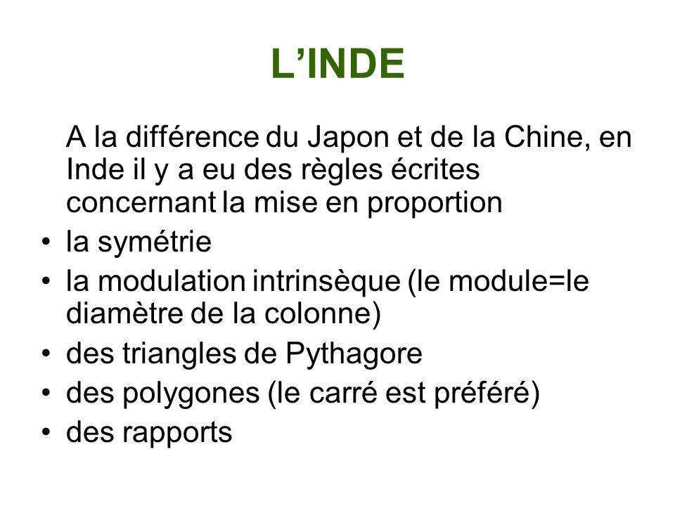 LINDE A la différence du Japon et de la Chine, en Inde il y a eu des règles écrites concernant la mise en proportion la symétrie la modulation intrins