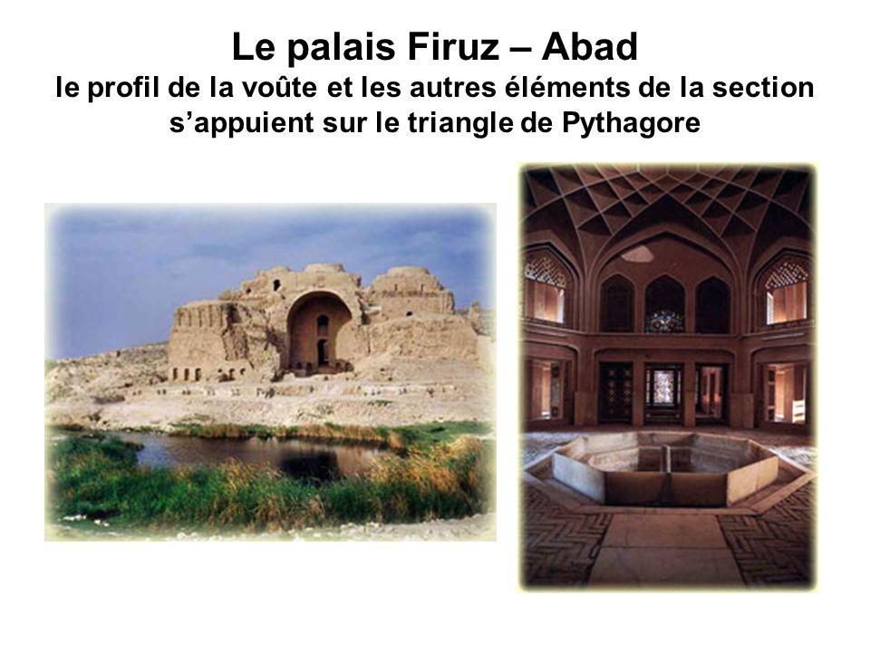 Le palais Firuz – Abad le profil de la voûte et les autres éléments de la section sappuient sur le triangle de Pythagore