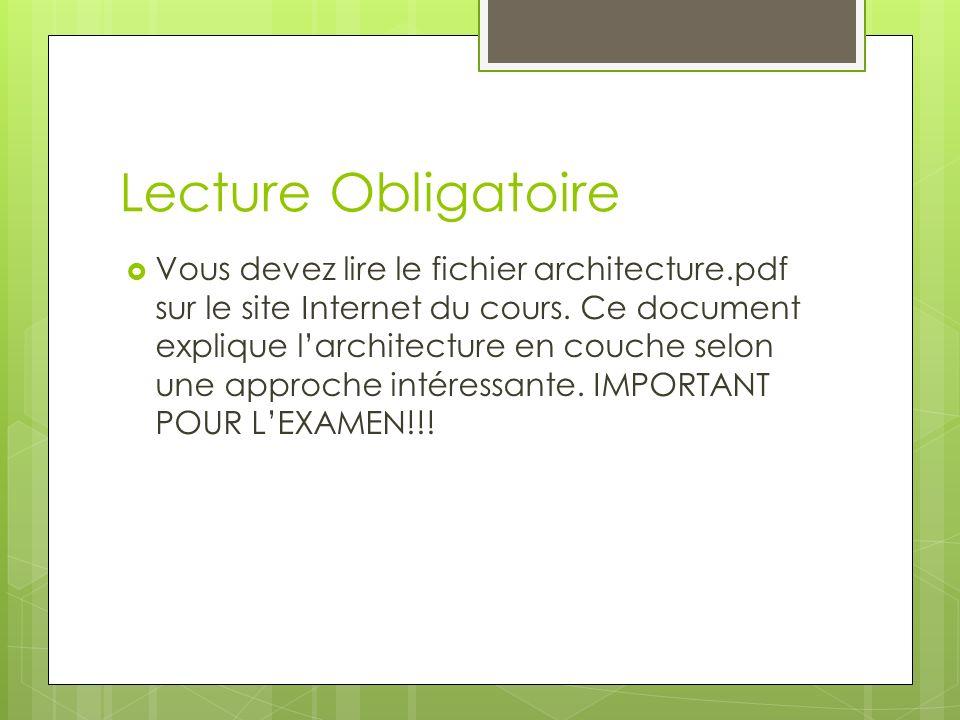 Lecture Obligatoire Vous devez lire le fichier architecture.pdf sur le site Internet du cours. Ce document explique larchitecture en couche selon une