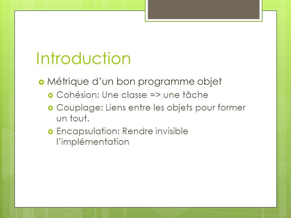 Introduction Métrique dun bon programme objet Cohésion: Une classe => une tâche Couplage: Liens entre les objets pour former un tout. Encapsulation: R