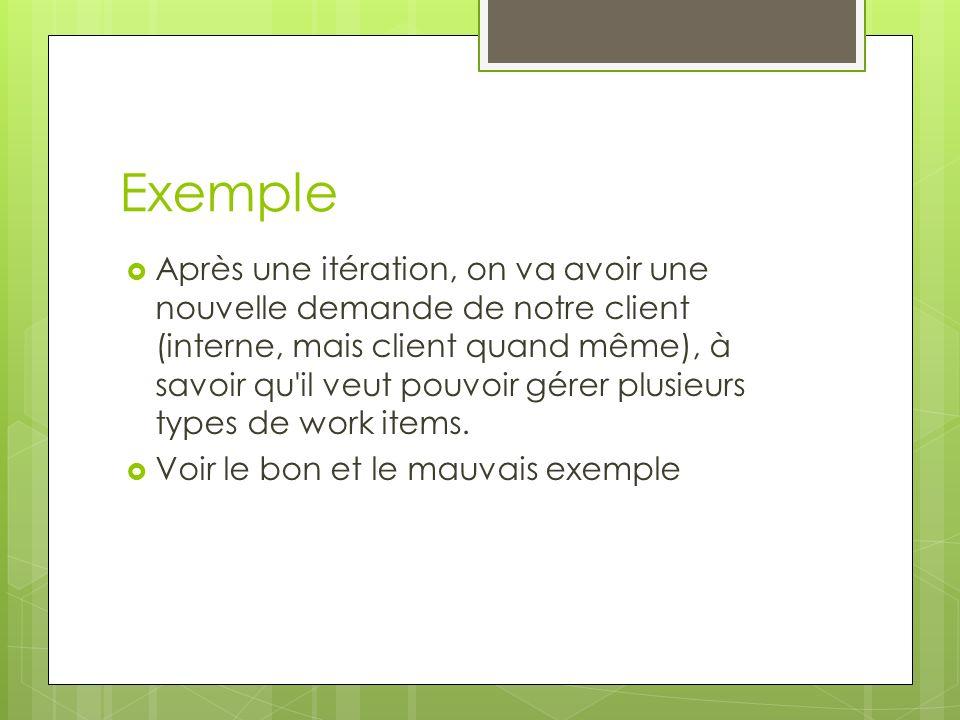 Exemple Après une itération, on va avoir une nouvelle demande de notre client (interne, mais client quand même), à savoir qu'il veut pouvoir gérer plu