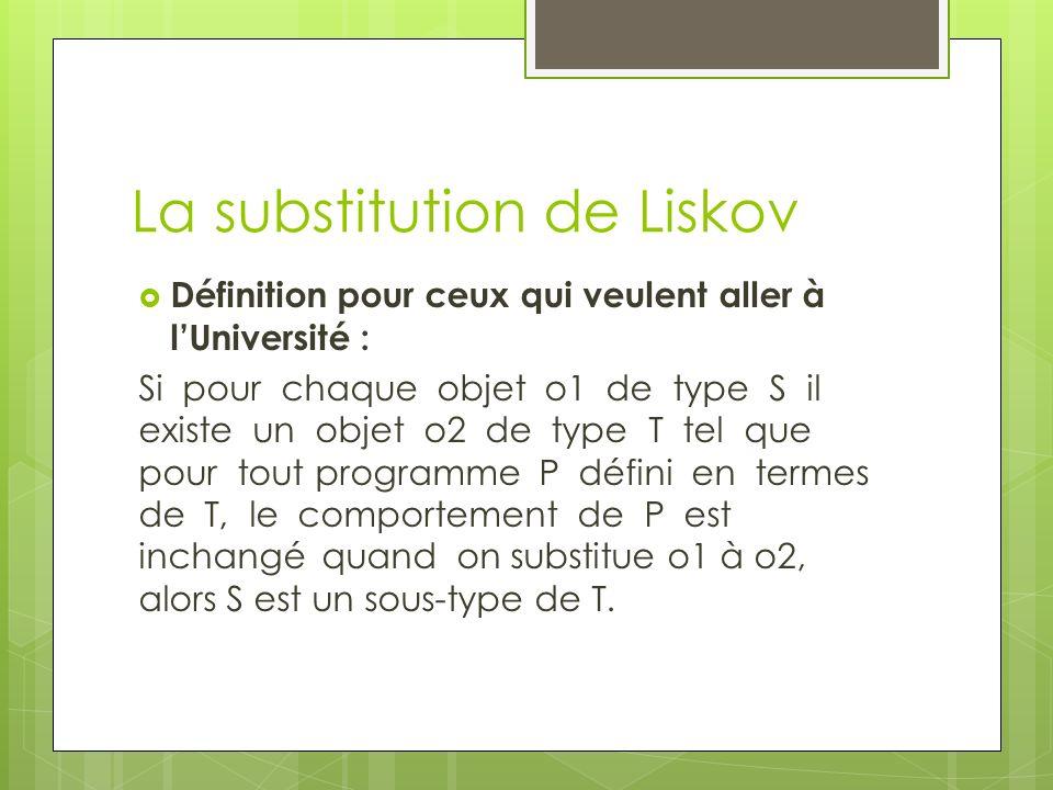 La substitution de Liskov Définition pour ceux qui veulent aller à lUniversité : Si pour chaque objet o1 de type S il existe un objet o2 de type T tel