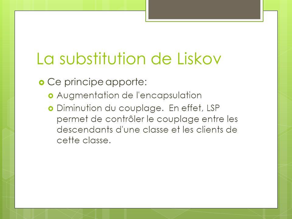 Ce principe apporte: Augmentation de l'encapsulation Diminution du couplage. En effet, LSP permet de contrôler le couplage entre les descendants d'une
