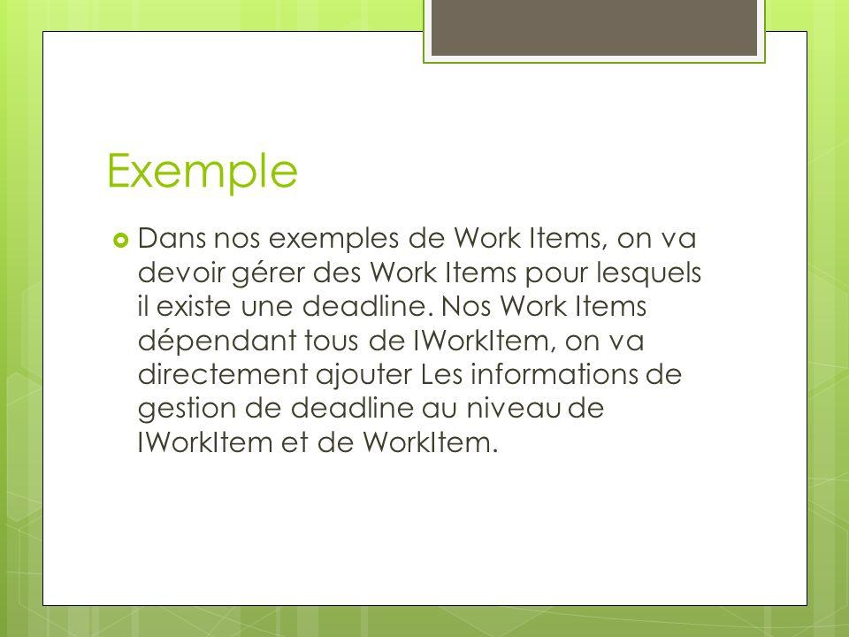Exemple Dans nos exemples de Work Items, on va devoir gérer des Work Items pour lesquels il existe une deadline. Nos Work Items dépendant tous de IWor