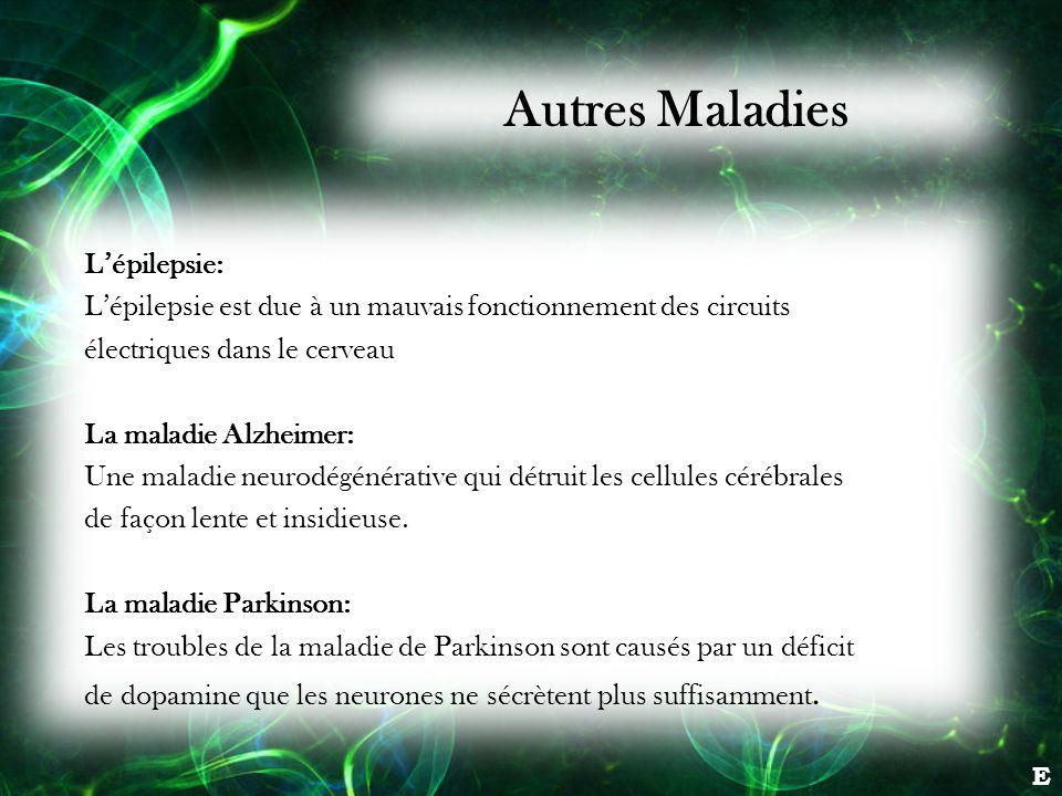 E Lépilepsie: Lépilepsie est due à un mauvais fonctionnement des circuits électriques dans le cerveau La maladie Alzheimer: Une maladie neurodégénérat
