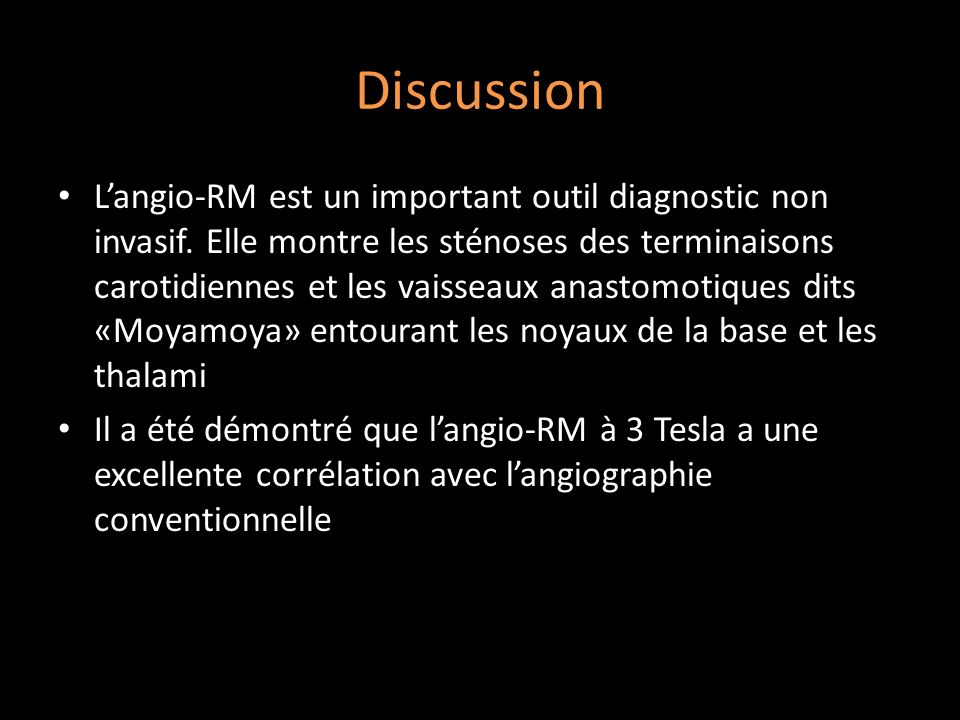 Discussion Langio-RM est un important outil diagnostic non invasif.