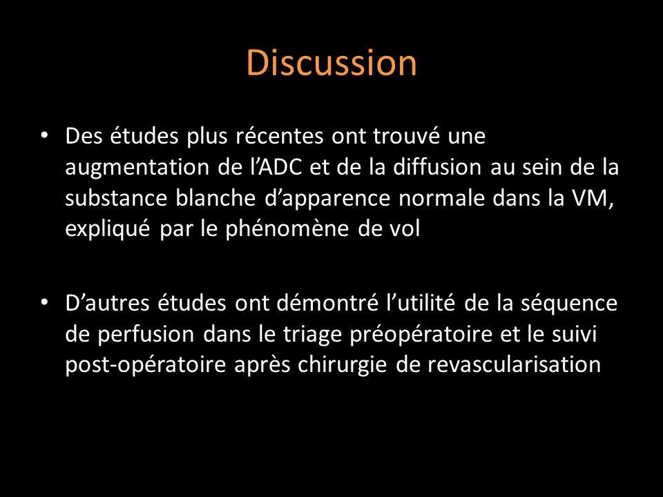 Discussion Des études plus récentes ont trouvé une augmentation de lADC et de la diffusion au sein de la substance blanche dapparence normale dans la