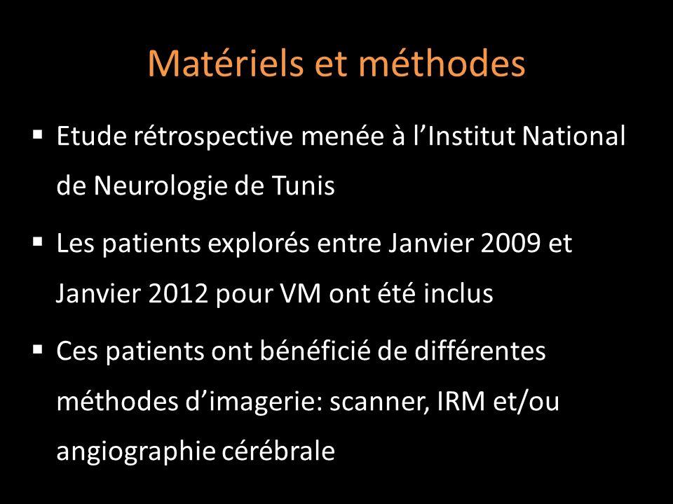 Matériels et méthodes Etude rétrospective menée à lInstitut National de Neurologie de Tunis Les patients explorés entre Janvier 2009 et Janvier 2012 p
