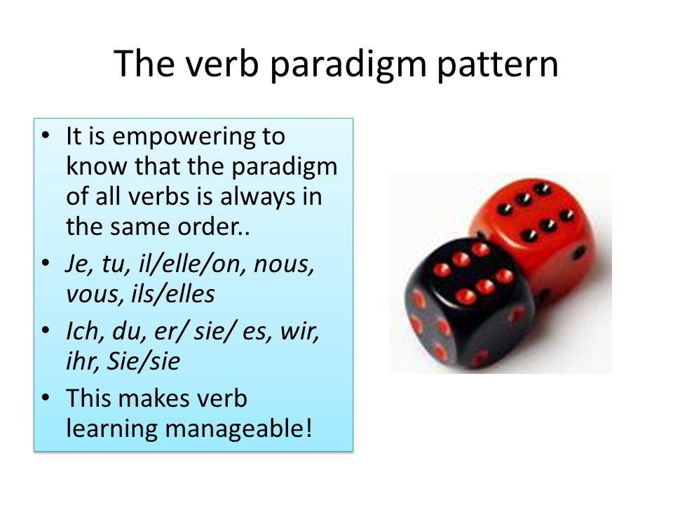 The verb paradigm pattern It is empowering to know that the paradigm of all verbs is always in the same order.. Je, tu, il/elle/on, nous, vous, ils/el