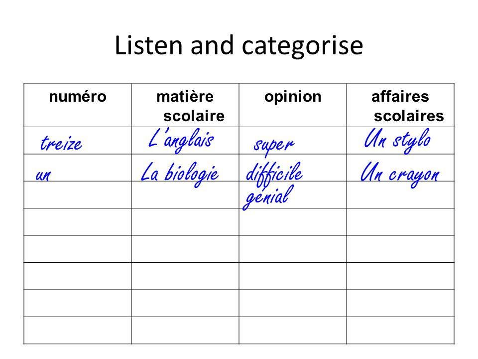 Listen and categorise numéromatière scolaire opinionaffaires scolaires treize Langlais super Un stylo Un crayondifficileLa biologieun génial