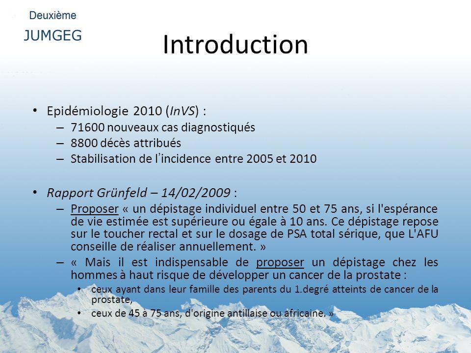 Introduction Epidémiologie 2010 (InVS) : – 71600 nouveaux cas diagnostiqués – 8800 décès attribués – Stabilisation de lincidence entre 2005 et 2010 Ra