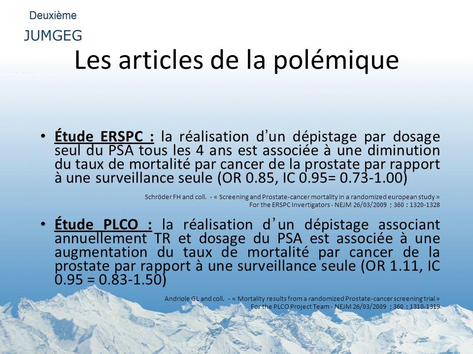 Les articles de la polémique Étude ERSPC : la réalisation dun dépistage par dosage seul du PSA tous les 4 ans est associée à une diminution du taux de
