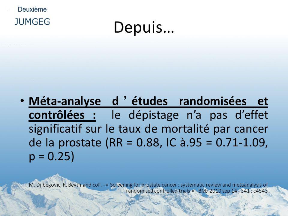 Depuis… Méta-analyse détudes randomisées et contrôlées : le dépistage na pas deffet significatif sur le taux de mortalité par cancer de la prostate (R