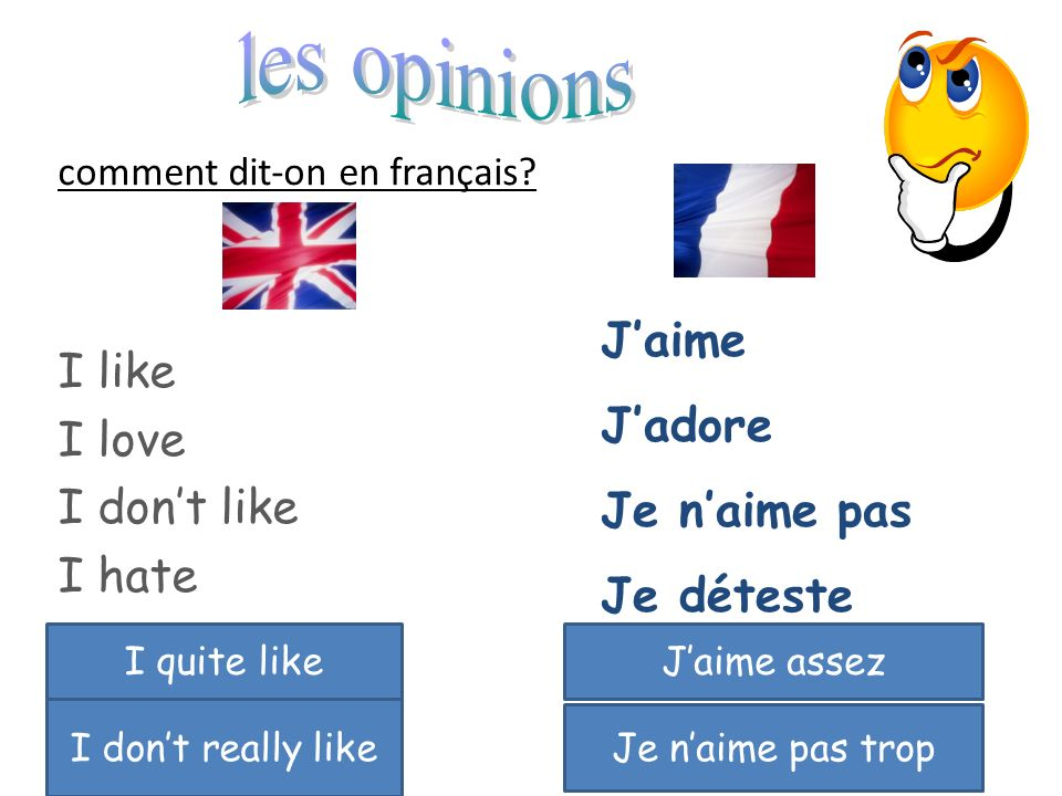 comment dit-on en français? I like I love I dont like I hate Jaime Jadore Je naime pas Je déteste I quite likeJaime assez I dont really like Je naime