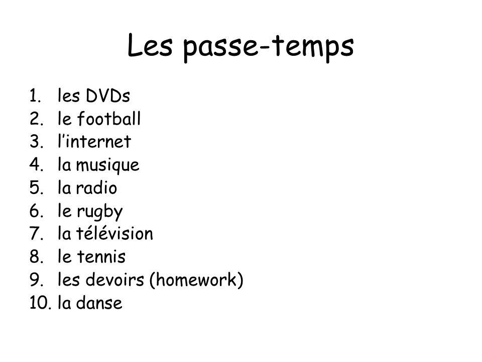Les passe-temps 1.les DVDs 2.le football 3.linternet 4.la musique 5.la radio 6.le rugby 7.la télévision 8.le tennis 9.les devoirs (homework) 10.la dan