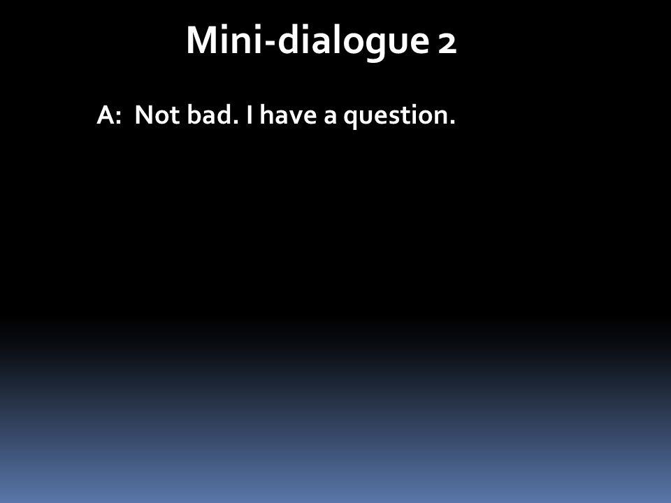 Mini-dialogue 2 A: Not bad. I have a question.
