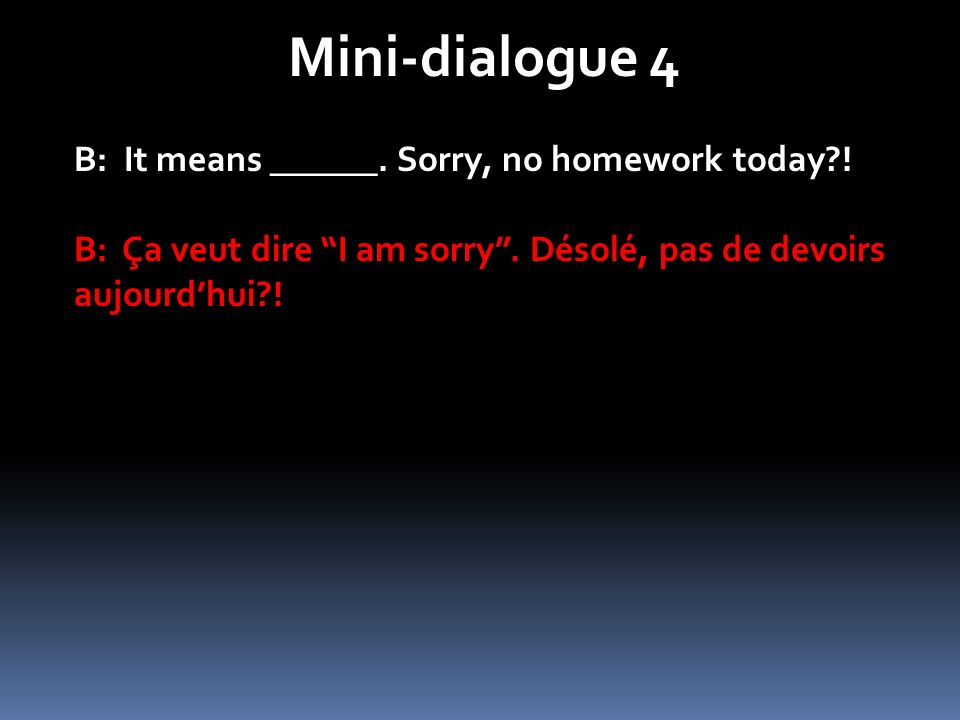 Mini-dialogue 4 B: It means ______.Sorry, no homework today?.