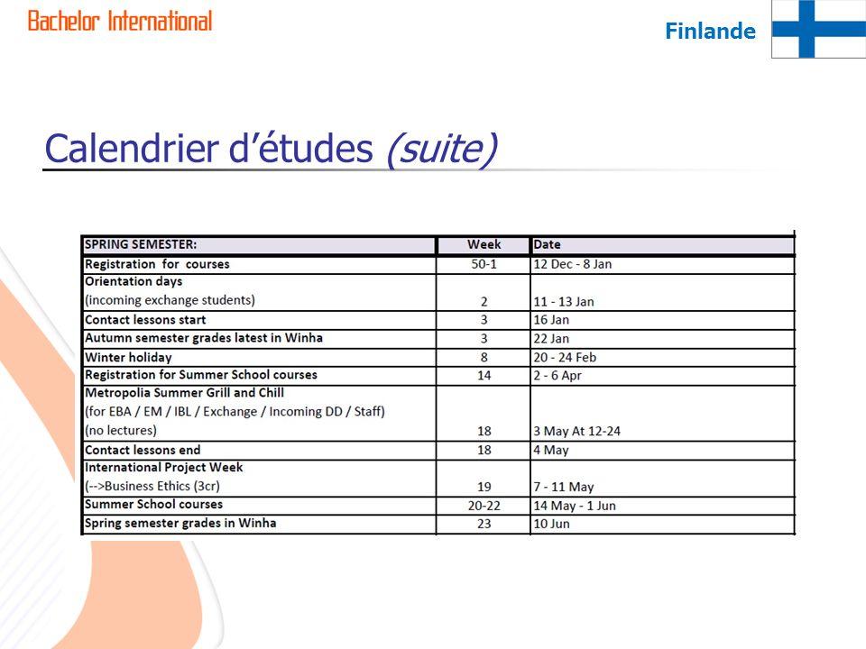 Calendrier détudes (suite) Finlande