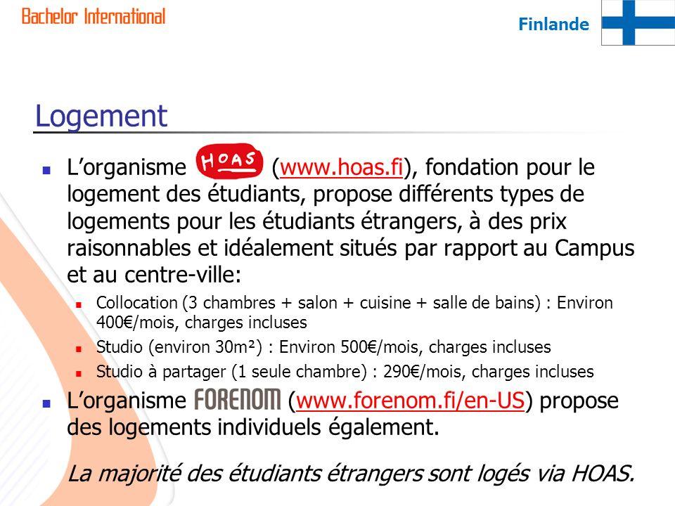 Logement Lorganisme HOAS (www.hoas.fi), fondation pour le logement des étudiants, propose différents types de logements pour les étudiants étrangers,
