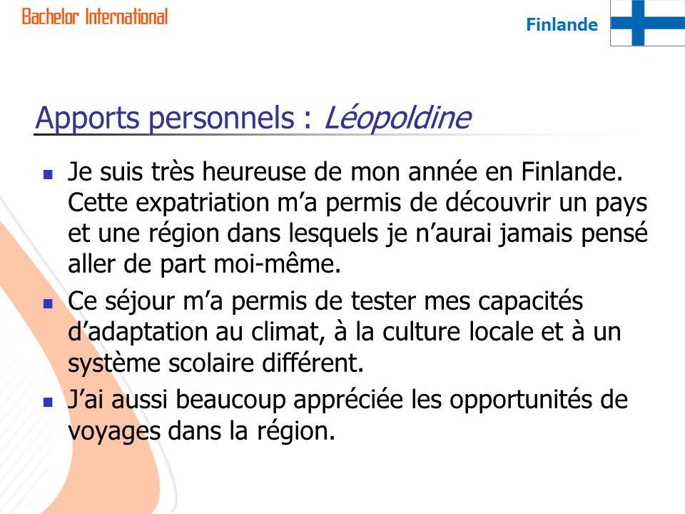 Apports personnels : Léopoldine Je suis très heureuse de mon année en Finlande. Cette expatriation ma permis de découvrir un pays et une région dans l